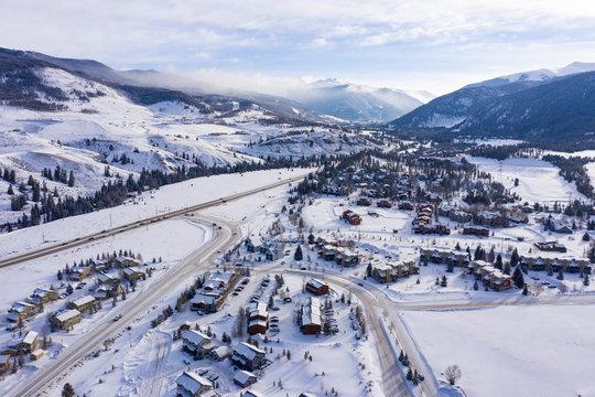 Keystone Colorado Aerial Panorama Winter Snow