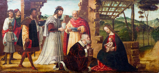 Pavia, Italy. 2017/11/11. Painting of the Adoration of the Magi who lay before Infant Jesus gifts of gold, frankincense, and myrrh, and worship Him. XVI century. Currently in Castello Visconteo.
