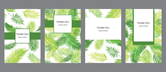 Drawn bright thank you tropic palm, bio, eco floral cards templates, universal design