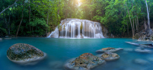 Panoramic beautiful waterfall in deep forest waterfall at Thailand