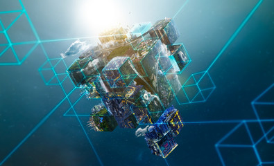 Fantasy puzzle cube of city and landscapes floating in the air , city scape and network connection concept .