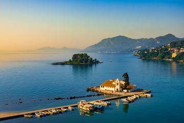 Vlacherna Monastery Kanoni and Mouse islands, Corfu, Greece Fototapete
