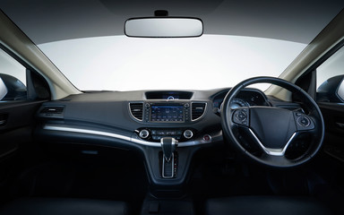 Modern black car dashboard interior , luxurycar interior concept .