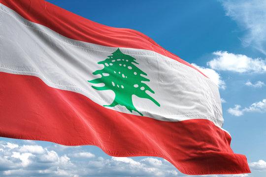 Lebanon flag waving sky background 3D illustration