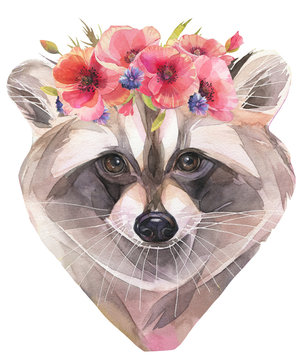Hand painted watercolor illustration. Cute raccoon with poppy wreath.