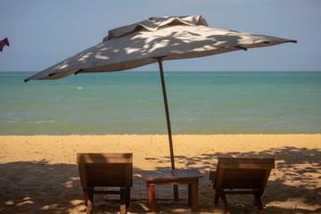 Caraíva - Bahia - Brazil - chairs and umbrella on the beach