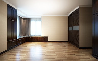 3d Illustration Beautiful Bright Room with Sun Light Passing Through, Decorated with Wooden Curtain and Parquet Floor