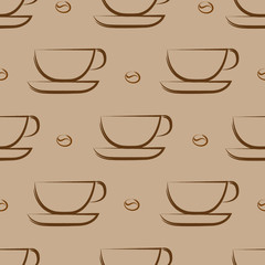 Coffee background. Seamless pattern. Cups on light broun background.