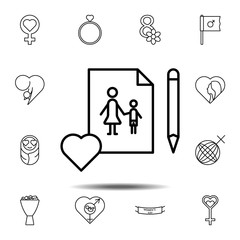 Women's day, pen, image, family icon. Simple thin line, outline vector element of Women's day, 8 march icons set for UI and UX, website or mobile application
