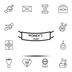 Women's day, tape icon. Simple thin line, outline vector element of Women's day, 8 march icons set for UI and UX, website or mobile application