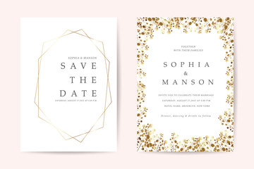 Wedding invitation card with gold flower and leaves  frame set isolated on luxury backgrounds - Vector