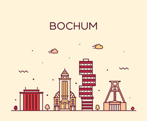 Wall Mural - Bochum skyline Germany vector city linear style