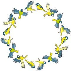 Cartoon titmouse spring birds colorful wreath ornament