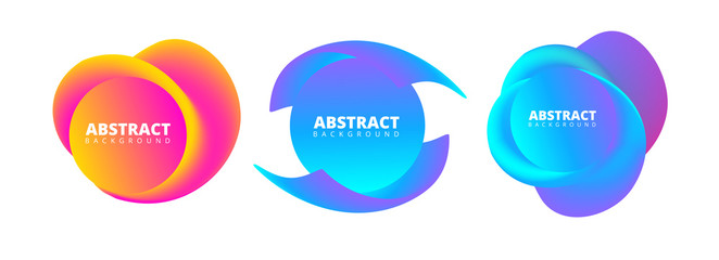 Set of abstract templates in bright spectrum colors for design.