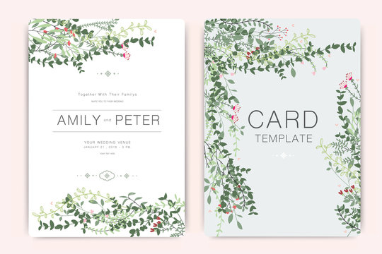 Wedding Invitation, floral invite thank you, rsvp modern card Design in summer leaf greenery  branches decorative Vector elegant rustic template