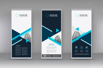 Vector vertical banner. Banner design in three different shape with building illustration. Abstract geometric background. Can use for Cover, Annual Report, Poster, Brochure, Flyer
