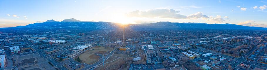 Boulder Colorado City Sunset Panoramic View Flatirons Mountain Landscape