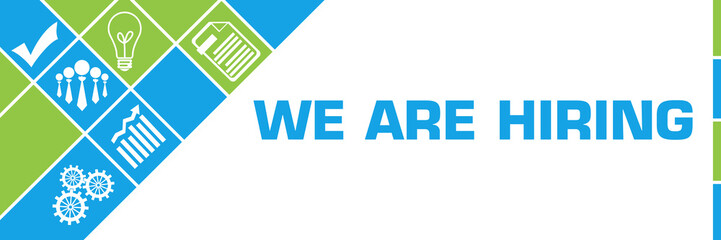 We Are Hiring Business Symbols Green Blue Left Triangles