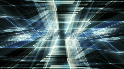 Abstract blue on black background element. Fractal graphics 3d illustration. Science or technology concept.