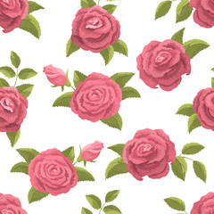 Rose flower graphic pink color seamless pattern background illustration vector