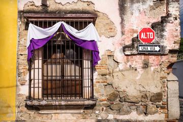 Traditional window with semana santa ribbon decoration in Antigua, Guatemala