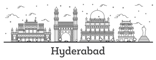 Outline Hyderabad India City Skyline with Historical Buildings Isolated on White. Fototapete