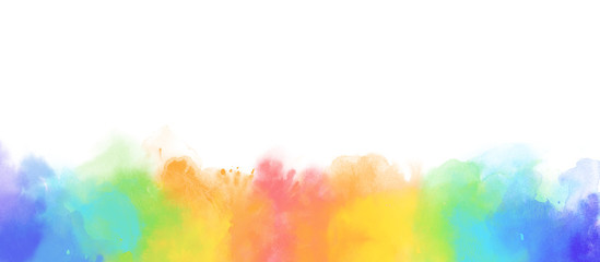 Rainbow watercolor border background isolated on white