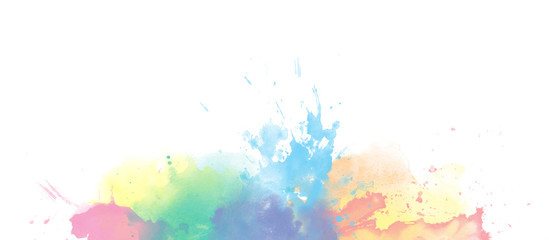 Rainbow watercolor colorful border background isolated on white