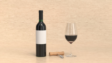 Mockup of bottle of wine with glass and corkscrew