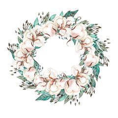 Beautiful  watercolor wedding wreath with eucalyptus, cotton   and leaves.