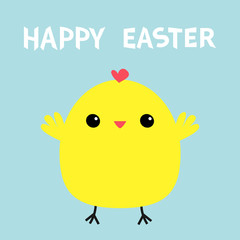 Happy Easter chicken bird. Cute cartoon kawaii funny baby character. Flat design. Greeting card. Blue pastel color background.