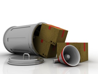 3d rendering megaphone with Cardboard boxes in container