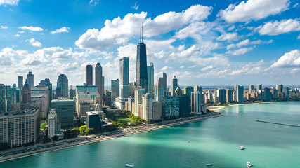 Fototapete - Chicago skyline aerial drone view from above, city of Chicago downtown skyscrapers and lake Michigan cityscape, Illinois, USA