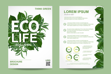 ecology brochure flyer design layout template in A4 size, eco life and green concept, Vector - fototapety na wymiar