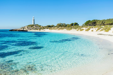 Pinky Beach is a popular beach on Rottnest Island. Crystal clear water during beautiful day on Rottnest Island, Perth, Western Australia.