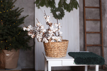 happy easter. Since March 8, International Women's Day!Cotton flowers in the basket.  Scandinavia. Delicate white cotton flowers. Cotton flowers in the interior of the house. Dried white fluffy cotton