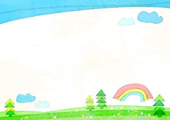 水彩風の野原と虹と青空と雲のフレーム-横位置