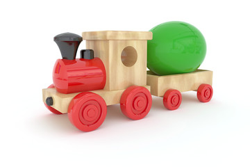 Easter wooden locomotive with wagons carrying Easter eggs