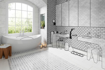 Old bathroom after renovation (vision) - 3d visualization