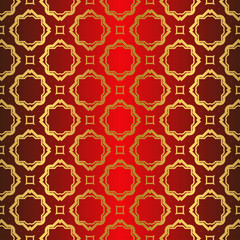 Art Deco Pattern Of Geometric Elements. Seamless Pattern. Vector Illustration. Design For Printing, Presentation, Textile Industry. Chinese red gold color
