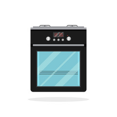 Isolated flat vector icon of black kitchen stove. Modern electric oven. Apparatus for cooking food. Household appliance