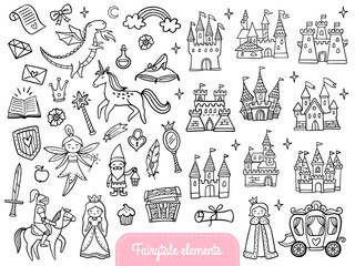 Big set of a fashion fairy tale and magic objects isolated on white background. Cute doodle illustration in cartoon style for stickers, badges, coloring page or indie game  Vector