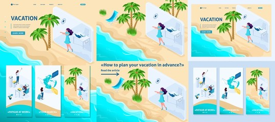 Isometric Girl Does from Office to Vacation