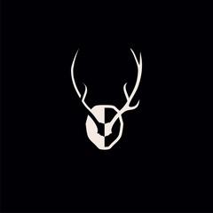 deer antlers logo vector illustration icon