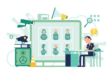 Policewoman working in a police station office. Female officer sitting at workplace, professional symbols, tools design, wanted poster with criminals. Vector abstract illustration, faceless characters