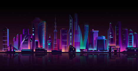 Vector modern megapolis on a river at night. Bright glowing skyscrapers with reflections on water, cartoon style. Urban buildings in neon colors, town exterior, architecture background.