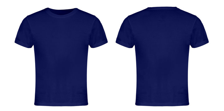 Blue Blank T-shirt Front and Back