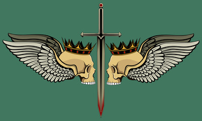 Crowned skulls with wings. Color vector image.
