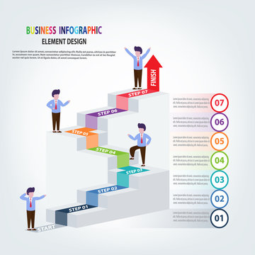Business Infographics template stairs with arrow and people steps for Presentation, Sale forecast, success, Improvement, Step by Step