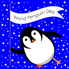 World Penguin Day. Penguin slides on the ice, winks, holds a flag with the name of the event